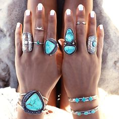 Boho turquoise rings. For more followwww.pinterest.com/ninayayand stay positively #inspired