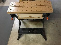 """Ok before anyone says this looks like something the Professor on Gilligans Island would do, I'd have to agree. In my shop I don't have a traditional woodworking bench. I have a Craftsman work bench from Sears that I've """"upgraded"""" and I also use a . Woodworking Garage, Garage Tools, Woodworking Projects, Garage Ideas, Workshop Bench, Wormy Chestnut, Portable Workbench, Home Blogs, Cool Tools"""