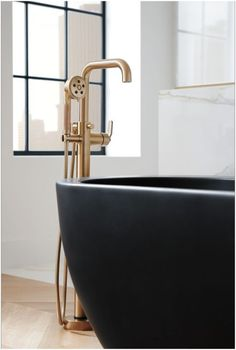 Brizo T70135-LHP Litze Single Handle Freestanding Tub Filler with H2Okinect Hand Luxe Gold Faucet Tub Filler Single Handle