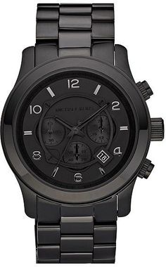 Buy the Runway Chronograph Watch by Michael Kors Watches from JULES B today. Check out our range of Michael Kors Watches and enjoy excellent customer care. Black Stainless Steel, Stainless Steel Bracelet, Michael Kors Black, Michael Kors Watch, Michael Kors Chronograph, Herren Chronograph, Metal Bracelets, Black Bracelets, Men's Accessories
