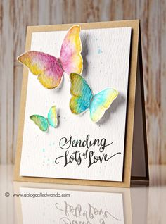 Watercolor butterflies. Card by Wanda Guess using WPlus9 stamps!