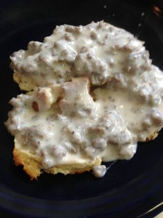 Paleo biscuits and gravy.  I used all coconut milk and substituted coconut oil for the butter to make it truly Paleo.  Just make sure to excessively grease the baking sheet or biscuits will not come off.  Good stuff...