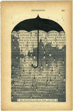 cut out a page of an old book and paint over all of it except a favorite line in it