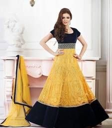 Buy Yellow embroidered net Semi stitched salwar with dupatta anarkali-salwar-kameez online