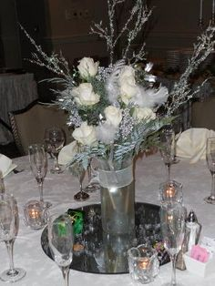 winter centerpiece with Sam's Club roses