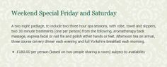 Book a surprise WEEKEND SPECIAL break with us over Friday & Saturday. a 2 night package which includes two three hour spa sessions! Just call 01937 580115 Leeds Bradford, Bridge, Spa, Night, Book, Books, Book Illustrations, Legs, Bro