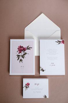 Peony Wedding Invitations . Marsala