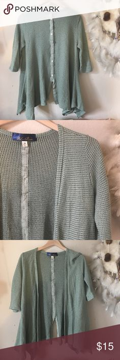 Sage Cardigan Open Front with Button Detail Back Medium Blue Rain Tops
