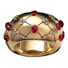 Magnificent Retro Gold Ruby Bangle owned by the painter Tamara de Lempicka,1938