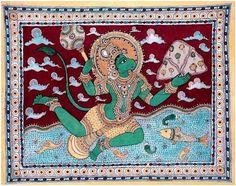 Kalamkari Painting, Madhubani Painting, Indian Gods, Indian Art, King Ravana, Demon King, Fashion Painting, Hanuman, Sea World