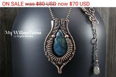 On Sale Wire Wrapped Blue Vivianite Necklace by MyWillowGems