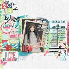 my goals for 2014  Digital Scrapbooking Layout using Just Jaimee january storyteller