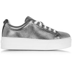 Kenzo Shoes K-Lace Argent Leather Platform Sneaker ($395) ❤ liked on Polyvore featuring shoes, sneakers, leather shoes, black leather sneakers, lace up sneakers, platform sneakers and black sneakers