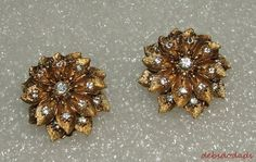 Women's Vintage Goldtone Floral Clear Rhinestone Clip On Earrings