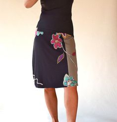 Multi colors flower embellished women skirts/Knee length by Zayade, $69.00
