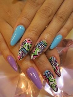 nail art for summer festival. Patterns and plain nails.