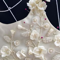 Trim and appliqué inspiration for summer 2017 Tambour Beading, Tambour Embroidery, Couture Embroidery, Embroidery Fashion, Ribbon Embroidery, Beaded Embroidery, Fabric Embellishment, Lesage, Ribbon Work