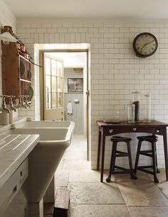 Subway tile to the ceiling...note direction change over doorway...also note plate rack and ship lap in adjoining room...love!!!