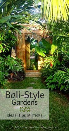 Tropical garden design - Balinese Style Gardens Tropical garden design - Balinese Style Gardens <br> Balinese Style Gardens is part of Tropical garden design - Turning a dull backyard into a mystical tropical paradise Bali Garden, Balinese Garden, Diy Garden, Dream Garden, Garden Ideas, Garden Posts, Summer Garden, Backyard Ideas, Tropical Garden Design