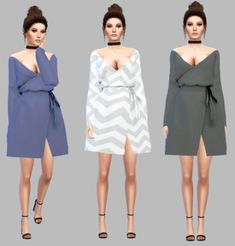 Non-satin Wrapped Dress Recolor for The Sims 4