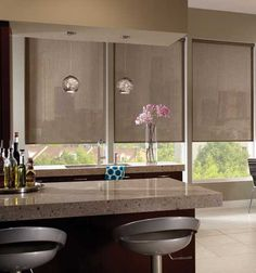 Solar Shades & Blinds for Windows Living Room Blinds, House Blinds, Blinds For Windows, Curtains With Blinds, Diy Window Blinds, Privacy Blinds, Shutter Blinds, Bay Windows, Window Shutters