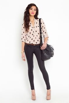 black skinnies with sheen that would look great with flowy sheer a high-low shirt