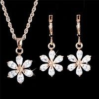 Wish | 1Set 18K Gold Filled Cubic Zirconia CZ Pendant Necklace Earrings Jewelry Set (Color: White)