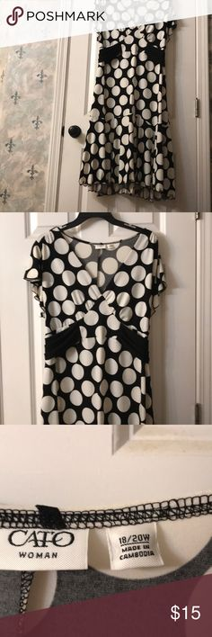 Black and white polka dot dress Black and white polka dot dress from Cato. Size 18/20. Never worn. Mid calf on me (5'3). Cato Dresses