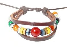 Neptune Giftware Brown Leather Straps , Beads & Cord Leather Bracelet / Leather Wristband / Surf Bracelet - 170