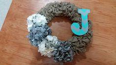 Burlap Wreath with Chevron Monogram and Flowers Chevron Monogram, Burlap Wreath, Bows, Wreaths, Flowers, Crafts, Door Wreaths, Bowties, Bow