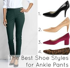 Which shoes works best with ankle pants featuring the @landsendus Portico Ankle Pant.