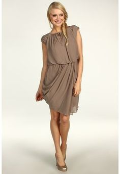 ShopStyle: Jessica Simpson  Short Draped Sleeve Asymmetrical Hem Dress