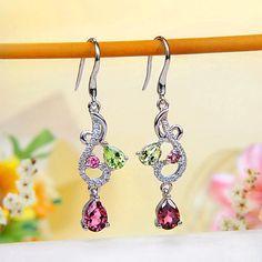 Multi-Color Tourmaline Hook Earrings