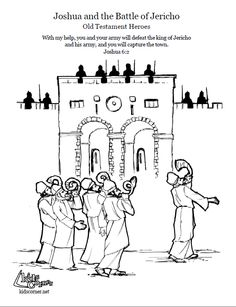 Joshua And The Battle Of Jericho Coloring Page Script Bible Story
