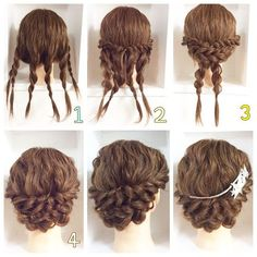 This pigtail hairstyle is beautiful. I will do that for sure – Haare Stil – Wedding HairStyles Medium Hair Styles, Curly Hair Styles, Natural Hair Styles, Updos For Curly Hair, Braided Updo For Short Hair, Braided Hairstyles, Wedding Hairstyles, Church Hairstyles, Graduation Hairstyles