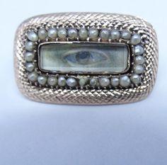 Lovers Eyes, Mourning Jewelry, Secret Love, Eye Jewelry, Pearl Brooch, Eye Art, Georgian, Miniatures, Romantic