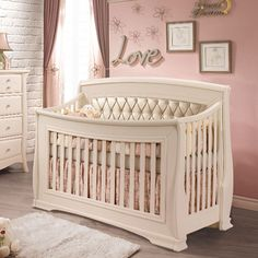 Best Bella Convertible Crib Linen with Diamond Tufting Panel