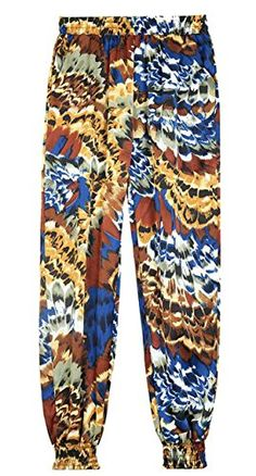 3a36cacd0c22 Oberora-Women Casual Elastic Waist Printed Loose Cropped Harem Jogger Pants