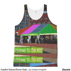 Comfort Unisex Flower Tank Tops Boston City views