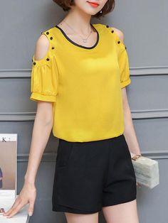 AdoreWe - Fashionmia Open Shoulder Decorative Button Short Sleeve T-Shirt - AdoreWe.com