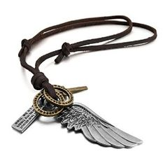 Men's Alloy Genuine Leather Pendant Necklace Silver Gold Brown Cross Angel Wing Vintage Adjustable 16~26 Inch Chain (With Gift Bag)