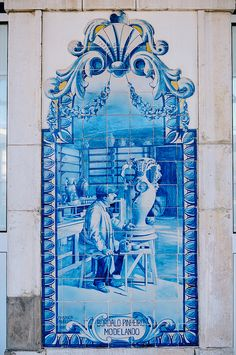 Azulejos of Caldas da Rainha Railway Station Portugal, Train Station, Frame, Decor, Tiles, Picture Frame, Dekoration, Decoration, Frames