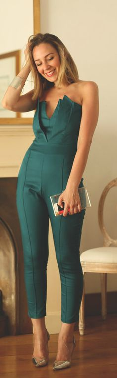 Strapless Jumpsuit -   My Showroom ... With a really good push-up and a belt to match the shoes