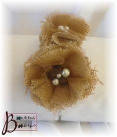 Unique burlap flower headband with beaded centers