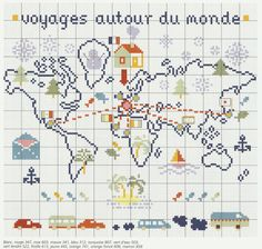 Voyages world map Cross Stitch Love, Cross Stitch Samplers, Cross Stitch Designs, Cross Stitching, Cross Stitch Embroidery, Cross Stitch Patterns, Theme Noel, Thinking Day, Christmas Cross