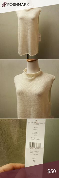 NWT Josephine Chaus sleeveless sweater Josephine Chaus cream sleeveless knit sweater new with tags  size 3 is converted to a women's size L 30in from the shoulder down and 18in from the armpit down. Josephine Chaus Sweaters