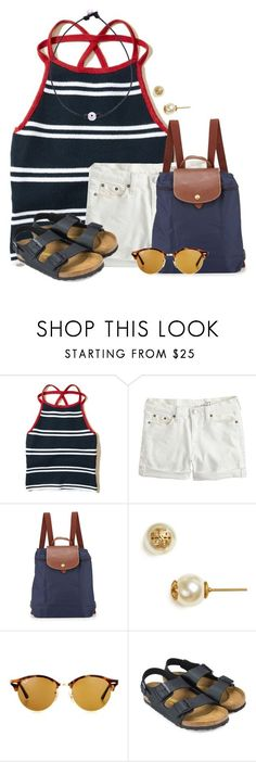 """""""I put my hands up they're playing my song✨"""" by flroasburn on Polyvore featuring Hollister Co., J.Crew, Longchamp, Tory Burch, Ray-Ban and Birkenstock"""