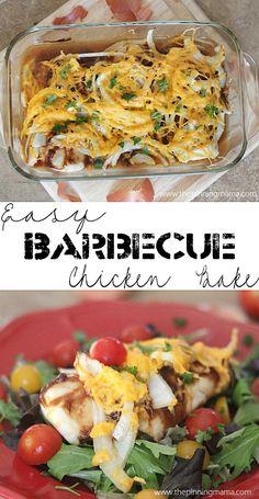 Easy + Delicious= Winning dinner recipe! BBQ chicken bake from thepinningmama.com