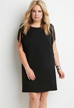 Plus Size Knotted Fringe-Trim Shift Dress | Forever 21 PLUS - 2000180018