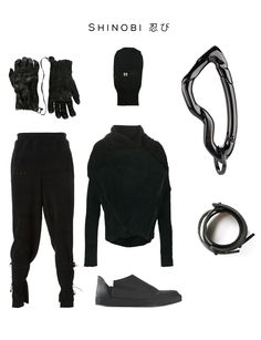 Shinobi 忍び Clockwise: 'Tueurpouille' gloves by ISAAC SELLAM EXPERIENCE, Full face hat cover by RICK OWENS, Arcus Carabiner by SVORN, Cuff bracelet & Asymmetric jacket by Barbara I Gongini, Slip-on sneakers by ROMBAUT, Reversible track pants by KLAR